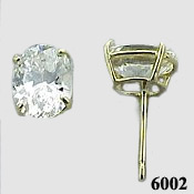 Solid 14k Gold 2 Carat Oval Cut CZ Cubic Zirconia Earrings - Product Image