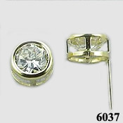 Solid 14k Gold Round Bezel CZ Cubic Zirconia Earrings - Product Image