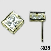 Solid 14k Gold Princess Bezel CZ Cubic Zirconia Earrings - Product Image