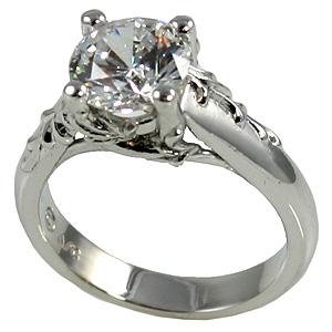 14k Gold AntiqueFloral CZ Cubic Zirconia Engagement Ring Cubic