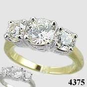 14k Gold 3 Stone CZ Cubic Zirconia Wedding Engagement Ring - Product Image