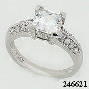 14k Gold Cubic Zirconia CZ Ring Cushion Cut Center Ring - Product Image