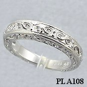 Platinum Antique Engagement Wedding Band Ring Cubic Zirconia