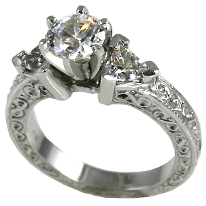 Platinum 3 Stone Antique Trillion Cubic Zirconia Ring - Product Image