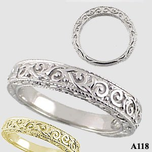 14k gold antique victorian anniversary wedding band ring cubic zirconia jewelry cz rings in 14k gold engagement ring - Wedding Band Ring