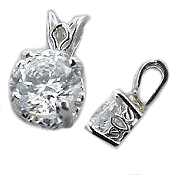 Solid 950 Platinum Antique Scroll Pendant - Product Image