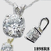 14k Gold Russian CZ Cubic Zirconia Scroll Pendant w/ Chain Pendant Necklace - Product Image