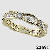 14k Gold CZ/Cubic Zirconia Round/Baguette Eternity Ring - Product Image