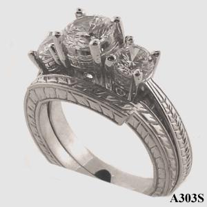 14k Gold 3 Stone Antique style Wedding Set CZ Cubic Zirconia Ring - Product Image