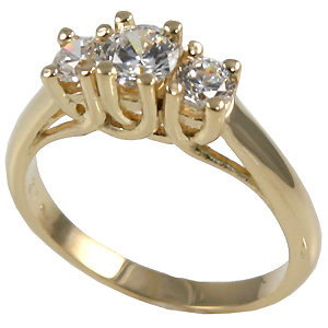 14k Gold Lucern 3 Stone CZ Cubic Zirconia Ring - Product Image