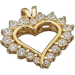 14k Gold CZ Cubic Zirconia Heart Pendant - Product Image