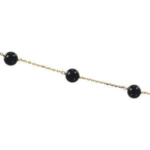 Solid 14k Gold CZ Cubic Zirconia Black Onyx Station Necklace - Product Image