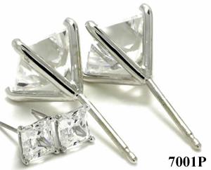 14k Gold 4 Prong Princess Cut Russian CZ Cubic Zirconia Stud Earrings - Product Image