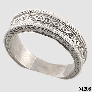 Sterling Silver Mens Antique Fancy Wedding Band Cubic