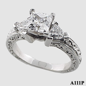 Sterling Silver Antique/Deco Princess Trillions Cubic Zirconia ring - Product Image