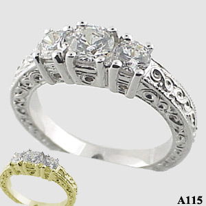 Sterling Silver 3 stone antique ring 1 ctw CZ Cubic Zirconia Ring - Product Image