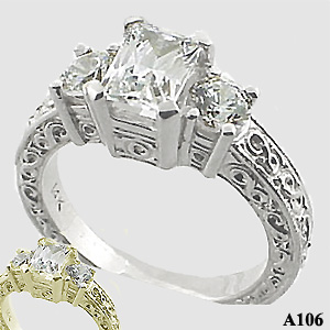 Sterling Silver 3 Stone Antique/Deco Emerald Cut CZ Cubic Zirconia Ring - Product Image