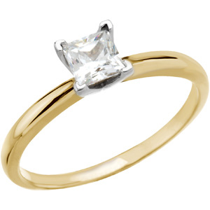 14k Gold Russian CZ Solitaire Princess Engagement Ring HEAVY - Product Image