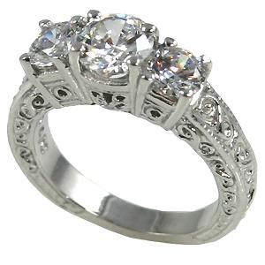 14k Gold 2ctw 3Stone Antique Wedding Band Cubic Zirconia Ring - Product Image