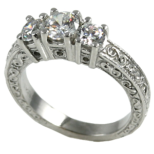14k Gold 1ctw 3Stone Antique Wedding Band Cubic Zirconia Ring - Product Image