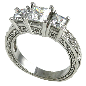 14k Gold 2ctw 3Stone Princess Antique Band Wedding Set CZ Ring - Product Image