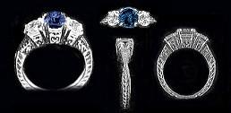 14k Gold Faux Sapphire/CZ Cubic Zirconia Antique/Deco style Ring - Product Image