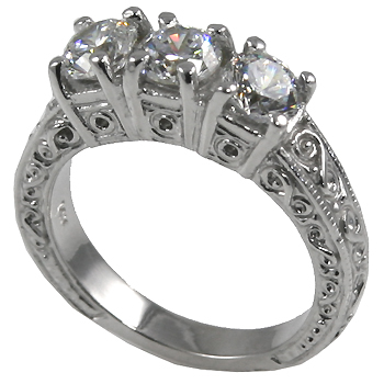 Sterling Silver 3 Stone Antique Anniversary CZ Cubic Zirconia Ring - Product Image