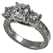 Sterling Silver 2.3 ctw 3 Stone Antique CZ Cubic Zirconia Ring - Product Image