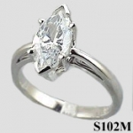 Sterling Silver Marquis Cut Antique/Scroll Solitaire CZ Cubic Zirconia Ring - Product Image