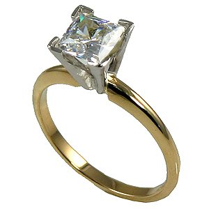 14k Gold Russian CZ V Shaped Prongs Princess Engagement Solitaire Ring - Product Image