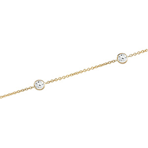Solid 14k Gold CZ Cubic Zirconia Station Necklace - Product Image