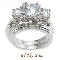 Sterling Silver Round Brilliant Cut Russian CZ Three Stone Engagement Ring & Wedding Band Euro Shank - Product Image