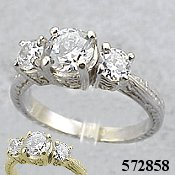14k White Gold 1.5 ctw CZ Cubic Zirconia Antique style ring - Product Image