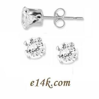 .925 Classic Sterling Silver 1ctw CZ Stud Earrings Cubic Zirconia Earrings - Product Image