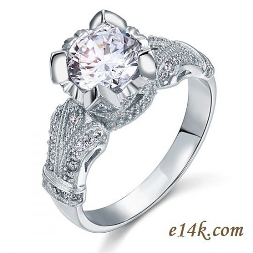 .925 Sterling Silver 2.25 cttw Round Brilliant CZ Cubic Zirconia Engagement Ring - Product Image
