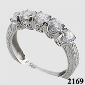 14k Gold Antique Style CZ Cubic Zirconia Anniversary Ring - Product Image