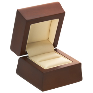 Amber Wood Single Engagement or Double Ring Wedding Set Box Jewelry