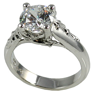 Platinum Antique Fl Cz Cubic Zirconia Engagement Ring