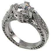 Platinum Antique/Victorian Solitaire CZ Cubic Zirconia Ring - Product Image
