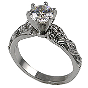 Platinum Lotus Crest Antique Wedding/Engagement Cubic Zirconia Rings - Product Image