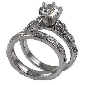 Platinum Lotus Crest Antique Wedding Set Cubic Zirconia Rings