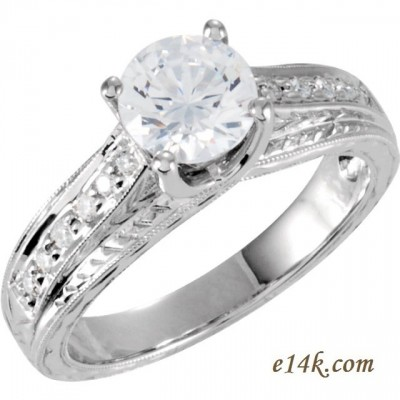 Solid 14k Gold 1ct Round Brilliant CZ Antique Style Hand Carved Engagement Ring    - Product Image