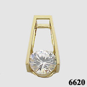 Solid 14k Gold 2.75 ct Russian CZ Cubic Zirconia Slide/Pendant - Product Image