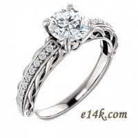 Solid 14k Gold Antique Inspired Filigree Style Round Brilliant Cut CZ Double Prong Engagement Ring - Product Image