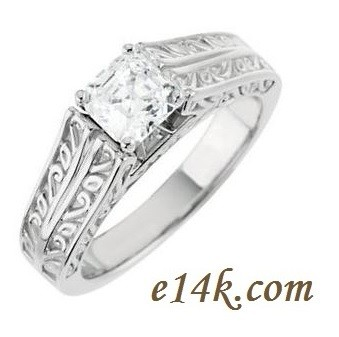 """Solid 14k Gold """"Any Shape Center Stone"""" Antique Cathedral Style Hand Carved Engagement Ring    - Product Image"""