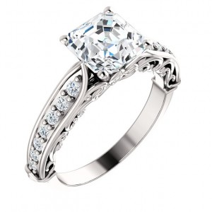 "Solid 14k Gold ""Any Shape Center Stone"" Antique Style Engagement Ring    - Product Image"