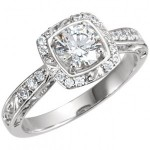 """Solid 14k Gold """"Any Shape Center Stone"""" Sculpture Inspired Antique Halo Style Engagement Ring    - Product Image"""