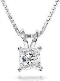 Solid 14k Gold Princess Cut Russian CZ Cubic Zirconia Solitaire Pendant - Product Image