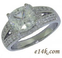 Solid .925 Sterling Silver 'Elegant' 3.00ct Cushion Cut Engagement Ring  - Product Image