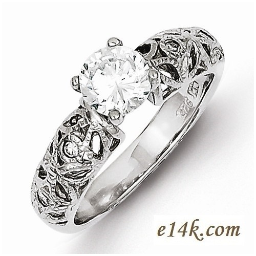 Sterling Silver 1 cttw Antique Style CZ Filigree Flower Petal Cubic Zirconia Ring - Product Image